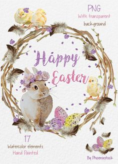 Watercolor Easter clip art/ Watercolor Easter egg/ by Phoenixstock