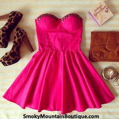 Sexy Fushia Pink Retro Bustier Dress with Studs and with Adjustable Straps – Size S/M/L