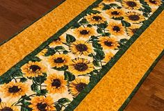Sunflower Table Runner, Quilted Sunflower Themed Runner, Yellow Floral Table Runner, Sunflower Decor, Spring Summer Table Runner by CuddleCatQuiltworks on Etsy Quilted Table Runners Christmas, Table Runner And Placemats, Crochet Table Runner, Table Runner Pattern, Sunflower Quilts, Sunflower Print, Quilted Table Toppers, Quilting, Handmade Table