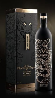 Royal Dragon Vodka I just need the bottle. I don't like Vodka. Cool Packaging, Beverage Packaging, Bottle Packaging, Brand Packaging, Design Packaging, Alcohol Bottles, Liquor Bottles, Vodka Bottle, Vitrine Design