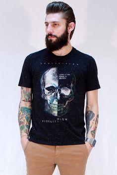CAMISETA JOHN JOHN SKULL VISION Types Of T Shirts, Cool Shirts, Tee Shirts, New T Shirt Design, Shirt Designs, Mens Tees, Stylish Outfits, Menswear, Mens Fashion