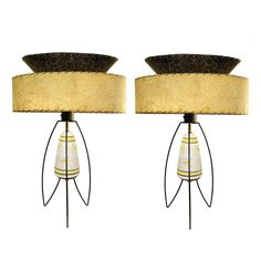 Atomic Mid Century Pottery Lamps with Hairpin Legs Weinberg