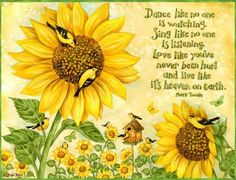 Summer Sayings - quotes, sunflower, saying, bird Sunflower Quotes, Sunflower Pictures, Sunflower Cards, Sunflowers And Daisies, Sun Flowers, Summer Quotes, Summer Sayings, Dance Like No One Is Watching, Fabric Birds