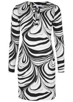 Diane von Furstenberg�black and white�silk jersey dress Printed Slips on 100% silk