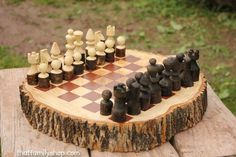 Custom Made Rustic Wood Log Chess Set