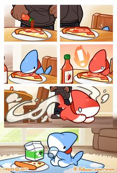 Pizza and Hot Sauce by 0Vress0.deviantart.com on @DeviantArt