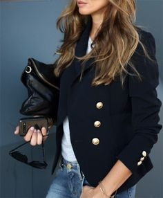 navy blazer black clutch jeans white tee