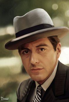 The Godfather - Al Pacino as Michael Corleone Don Draper, Joseph Morgan, Robert Downey Jr, James Bond, Young Al Pacino, The Godfather Wallpaper, Godfather Movie, Gangster Movies, Celebrity Caricatures