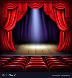 Buy Empty Concert Hall Stage Realistic Vector by vectorpouch on GraphicRiver. Theater or concert hall stage with opened red curtains, spotlight beam spot in center and empty visitors seats realis. Hall Curtains, Red Curtains, Music Backgrounds, Wallpaper Backgrounds, Free Photoshop Plugins, Beautiful Wallpaper Hd, Basement Movie Room, Outside Living, Dojo