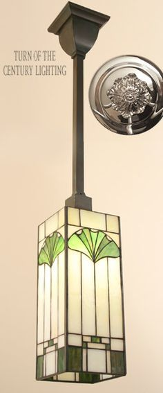 Stained glass pendant ceiling light with ginkgo leaf motif