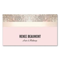 Bold Chic Modern Sequin Gold and Pink Striped Double-Sided Standard Business Cards (Pack Of 100) Perfect networking card for hairstylists, beauty salons, makeup artists, cosmetologists, fashion stylists, dancers and more. #businesscards