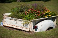 Old truck bed used as a planter