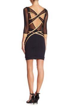 3/4 Length Sleeve Double Criss Cross Back Dress