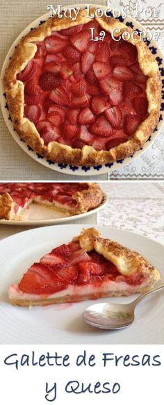 Galette de Fresas y Queso: Una base crujiente, una capa de crema de queso y fresas frescas que se hornean junto a la galette. ¡Deliciosa!