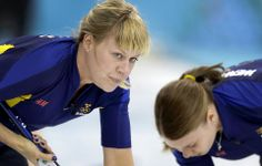 DAY 13:  Maria Prytz of Sweden competes during the Curling Women's Semifinal - Sweden vs. Switzerland http://sports.yahoo.com/olympics
