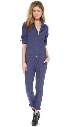 This jumpsuit is begging for a loose floral tie! Rag & Bone/JEAN Somerset Armitage Jumpsuit $275 only on #ShopBop