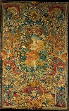 Seasons and Elements (Summer), Charles Le Brun for Madame de Montespan 1683.  In this tapestry, Summer is presumed to be represented by Louise-Francoise de Bourbon, Mademoiselle de Nantes (1673-1743), later princesse de Conde, natural daughter of Montespan and Louis XIV.