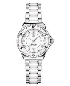 TAG Heuer Watch, Women's Swiss Formula 1 Diamond (1/3 ct. t.w.) Stainless Steel and White Ceramic Bracelet