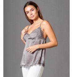 Μπλούζα με Ραντάκι από Σατέν και Δαντέλα - Γκρί Camisole Top, Tank Tops, Women, Fashion, Moda, Halter Tops, Women's, Fashion Styles, Woman