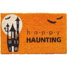 """Entryways Happy Haunting Hand Woven Coir Doormat by Entryways. $37.88. 18 in x 30 in. This mat is hand stenciled with permanent fade-resistant dyes. Hand made from all-natural coconut fiber which is an excellent dirt-trapper; 3/4"""" thickness. This beautifully designed hand-woven doormat will enhance your entry way or patio. It's made from the highest quality all natural coconut fiber."""