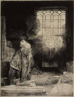 'Faust in his Study' (1652) by Rembrandt van Rijn (1606/7-1669). Etch, drypoint and burin on Oriental paper. 212 x 162 mm. Although titled 'Faust', this print does not accord with any passage in Marlowe's 'Dr Faustus'. It shows an elderly scholar in his study, transfixed by the apparition of a blazing disc of light enclosing a series of letters. The scene may represent an alchemist, but does not correspond with traditional representations of the subject.  www.ritmanlibrary.com
