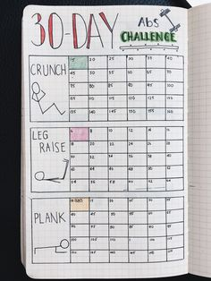 Challenge layout for bullet journal