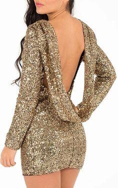 Luxurious Golden Sequin Backless Party Dress