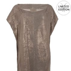 All Saints Limited Edition Metallic Leather Dress So gorgeous and amazing quality! Excellent worn condition, no flaws! Oversized tunic fit with boat neck and perforated detail. The softest genuine leather with subtle shimmer! Limited edition and sold out everywhere! Looks great belted or with skinny jeans. No trades!! 05211650gwb All Saints Dresses