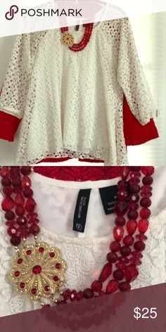 Ivory Top & Necklace Stunning Ivory Crocheted Tear Drop Top  Three Quarter Sleeves Scoop Neck.  Accessorized w/a Red Bead Necklace w/Gold & Crystal Scolloped Accent. Beau-Ti-Ful Great Alone But Wears So Divine With The Alfred Dunner Sparkle Jacket  (recently posted) Size Petite Large Tops Blouses
