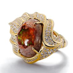 My artisanal jewels are celebrated for their intuitive, fluid movement, allowing them to harmonise with the body. #katflorence #MexicanFireOpal