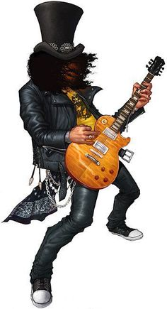 slash caricature ✿ ❀ ❁✿ For more great pins go to Guns N Roses, Rock Posters, Band Posters, Metal Bands, Rock Bands, Guitar Hero, Slash, Celebrity Caricatures, Heavy Metal Music