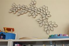 Upcycled art - toilet paper rolls.