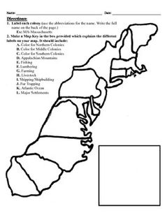 This project has three different differentiated levels for different levels of students, or to have them work up to... This project is set-up to print on 8.5x11 sheets of paper. In the first tier (the easiest), the students are given a map of the thirteen colonies and have to label each colony and then color 7th Grade Social Studies, Social Studies Notebook, Teaching Social Studies, Teaching Us History, History Education, History Teachers, History Interactive Notebook, Interactive Notebooks, 13 Colonies Map