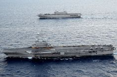 Charles de Gaulle (R91) Aircraft Carrier (France) and Cavour (550) Aircraft Carrier (Italy)