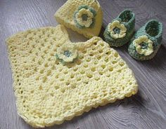 BABY CROCHET PONCHO HAT AND SHOES