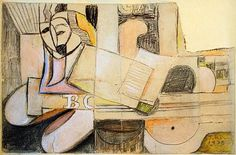 José Bernal - Title	 Composición cubista (sketch)  	Work Date	 	1938  	Medium  mixed media on paper  	Size	 h: 5.5 x w: 8.44 in / h: 13.97 x w: 21.44 cm  	Provenance San Antonio Museum of Art, San Antonio, Texas