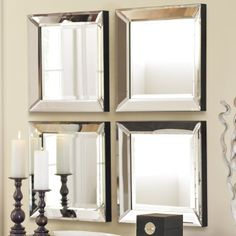 beveled mirrows - lot of different ways to arrange i.e. 'L'