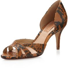 Schutz Snake-Stamped D'orsay Pump ($86) ❤ liked on Polyvore