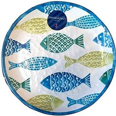 "Cynthia Rowley Tropical Fish Large Round Melamine Platter. Large 18"" diameter melamine serving platter Tropical Fish design brings vibrant color to your table at the beach, picnic or just for summer Perfect for eating outdoors and great accent for table Great dishes are tough and very difficult to break. $30 Disclosure: This is an affiliate link. If you make a purchase I may earn a small commission (your cost is not affected). Enjoy this beautiful platter!"