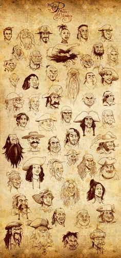50 pirates and 1 monkey by ~pardoart on deviantART hairstyles, details/accessories