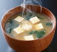 Miso Soup   1/2 cup dried wakame (a type of seaweed)  1/4 cup miso paste (fermented-soybean paste)  1/2 tbsp dashi (Japanese stock powder)  1tbsp sake
