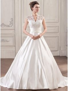Ball-Gown V-neck Court Train Satin Lace Wedding Dress With Ruffle #jjshouse