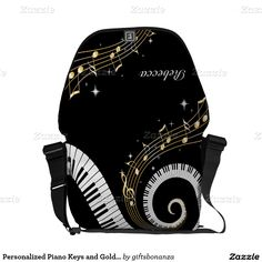 Personalized Piano Keys and Gold Music Notes Messenger Bags