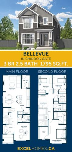 3 bedroom 2.5 bathroom 1795 SQ.FT home floorplan! View more of this house:  Bellevue in Chinook Gate | Home design by Excel Homes #homedesign #home #house #homebuilder #floorplans #floorplan #houseplans #dreamhome #3bedroom #largehome