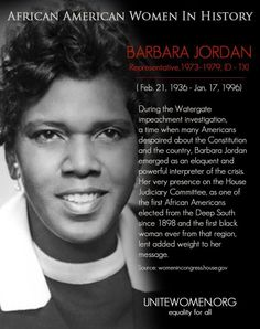 Barbara Jordan(1936-1996) was an attorney and a member of the U.S. House of Representatives from Texas's 18 district. Jordan became the FIRST African-American woman to be buried in the Texas State Cemetery.