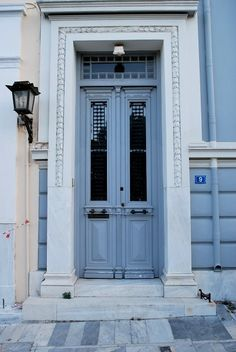 Beautiful neoclassical door in Thissio, Athens, Greece