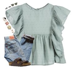 """""""•i love this outfit as much as i like him•"""" by mackenzielacy814 ❤ liked on Polyvore featuring Nanos, Fitbit, MICHAEL Michael Kors, Suzanne Kalan, Levi's, Artémes, Ray-Ban and Birkenstock"""