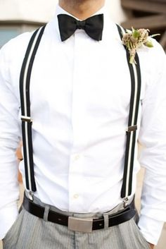 Stylish Groom's Outfit Ideas With Suspenders. If you want the best officiant for your Outer Banks, NC, ceremony, contact Rev. Barbara Mulford: myobxofficiant.com/