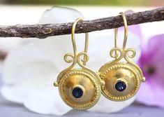 Sapphire Earrings Boho Gold Earrings Solid Gold Earrings | Etsy