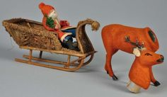 Lot # : 196 - Santa-Driven Moss-Covered Sleigh Candy Container.